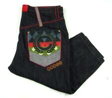Coogi Black Denim Jeans Act W 47 L 27 (Tag 46x36) Baggy Embroidered Diamonds