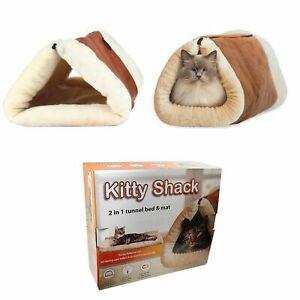 Pet Cat Calming Beds Comfy Shag Warm Fluffy Bed Nest Mattress Pad Kitty Shack