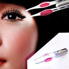 Beauty Women Eyebrow Tweezers Eyelash Hair Removal Clip Makeup Tool With LED Hot
