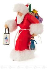 Babbo Natale Con Lanterna Intagliato Rosso Altezza = 19cm Nuovo Erzgebirge