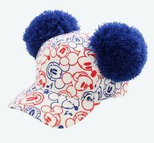 TDR Tokyo Disney Resort Light Blue Red Mickey PONPON Cap Hat Minnie