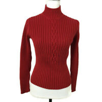 St Johns Bay Women Turtleneck Sweater Size Small Red Sparkle Ribbed