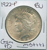 1922-P Peace Dollar Uncirculated US Mint Coin PQ Gem Silver Coin BU Unc MS++++++