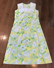 "Vintage ""The Lilly"" Pulitzer Dress Yellow Green White Roses Embroidered Sz 8/10"