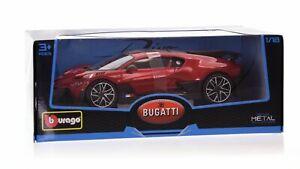 Bburago Bugatti Divo (Rouge Métallique, Maßstab 1:18) Modèle Course Auto