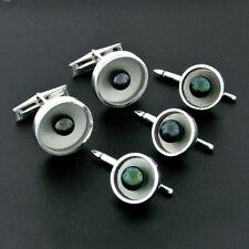 Estate Men's 14k White Gold Round Black Pearl Cuff Links & 3 Button Stud Set