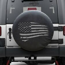 "Distressed Flag Tire cover Jeep Tire Cover GRAY PRINT Fits 30""-32"" tires"