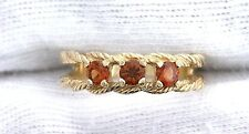 10Kt REAL Yellow Gold 3.5mm Hessonite Garnet  Ladies Gemstone Gem Rope Ring