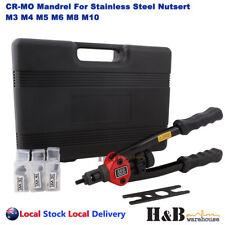 Nutsert Tool Kit Rivnut Rivet Nut Gun Mandrels M3 to M10 Carry Case 330mm handle
