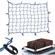 12Hook Elastic Car Trailer Roof Rack Boot Luggage Bungee Cord Cargo Net Blue