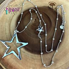 SILVER STAR NECKLACE LONG NICKLE FREE ALLOY METAL CHAIN LARGE STAR PENDANT 85 CM
