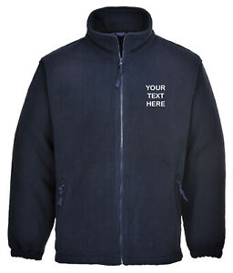 Embroidered, Personalised Navy Fleece Jacket, Name, Text, Company Logo