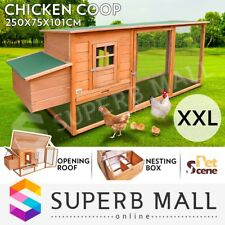 Chicken Coop Ferret Guinea Hutch Pig Hen Rabbit House Cage 2 Storey Wooden