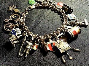 "Vintage Euro Sterling Silver Charm Bracelet & 21 Charms,52gr, 7.50"" Loaded,Rare"