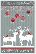REINDEER FABRIC Alpine Christmas Panel Fabric By Wilmington Prints BTP NEW