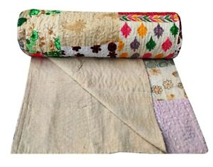 Kantha Embroidery Bedspread Indian King Size Quilts Boho Vintage Throw Blanket