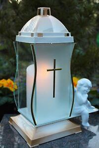 Grablicht gold weiß Grablaterne LED Kerze Grableuchte Glas Keramik Engel