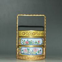 Chinese Copper Enamel Handmade Exquisite Gilded Food Box 70254