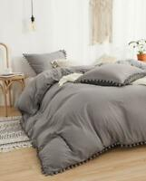 Luxury 100% Washed Cotton Duvet Cover Bohemian Bedding Pom Pom Donna Cover