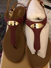 Michael Kors Womens MK PLATE THONG Leather Open Toe Casual, Burnt Red, Size 9💕
