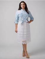 Lane Bryant Crochet Skirt Women Plus 14 16 18 20 22 26 28 White Midi 1x 2x 3x 4x
