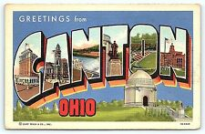Postcard OH Canton Large Letter Greetings from Canton Ohio