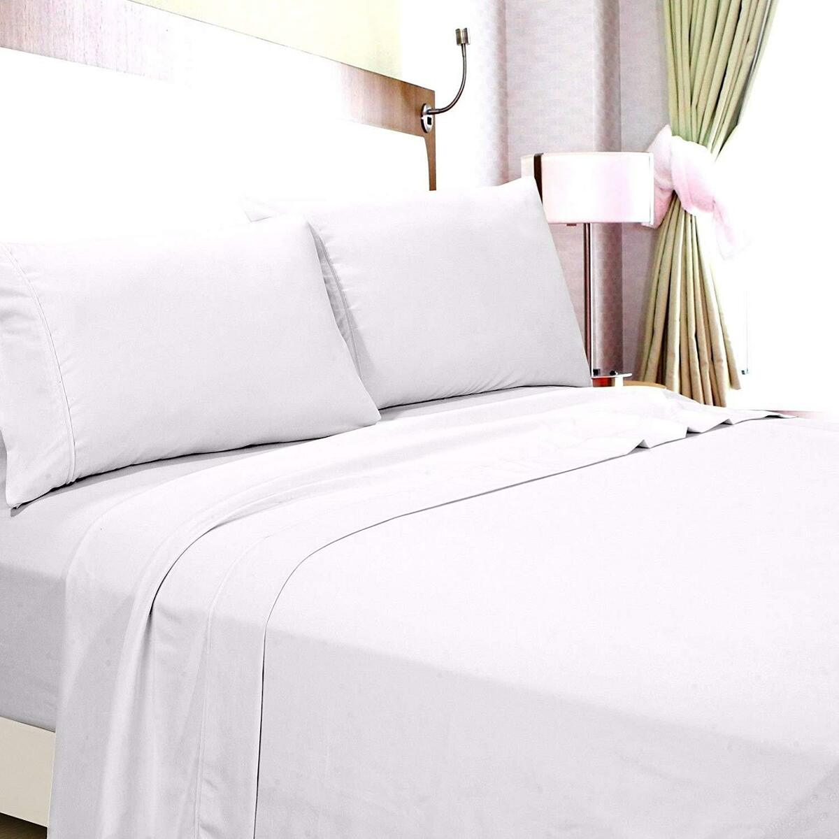 """Bed Sheet Sets 6PCs 100/% Cotton Ivory Fitted 400 TC Drop Pocket 6/"""" to 24/"""""""