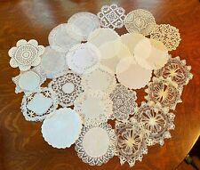 Lot of 25 Vintage Doilies Rounds Crochet Cutwork Embroidery Flanders Bobbin Lace
