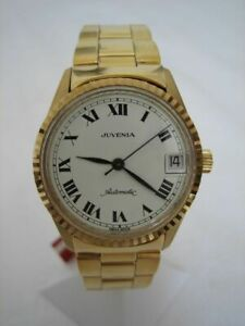 NOS NEW SWISS VINTAGE GOLD PL AUTOMATIC DATE JUVENIA ANALOG MEN'S WATCH 1960'S