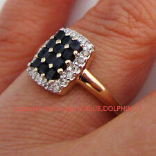 Genuine Natural Diamonds Sapphire Solid 9ct Yellow Gold Engagement Wedding Rings