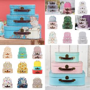Vintage Floral Suitcases Set Of 3 / 2 Storage Boxes Deco Suitcase Box
