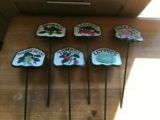 CAST IRON HAND PAINTED VEGETABLE/SALAD SIGNS/MARKERS/TAGS GARDENING