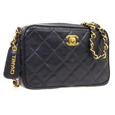 CHANEL Quilted CC Single Chain Shoulder Bag 3839131 Purse Black Caviar 35440