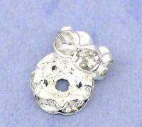 100 Versilbert klar Strass Rondelle Spacer Beads 8mm