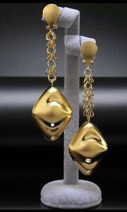 New Fashion Wedding Nigerian Party Dubai Gold Long Drop Dangle Earrings Gift