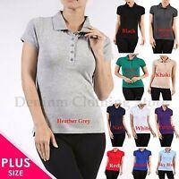 Plus Size Women's Classic Jersey Short Sleeve Cotton Polo Shirts Tops 1X 2X 3X
