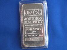 Johnson Matthey .999 Fine Silver 10 Oz Ingot Bar B4105
