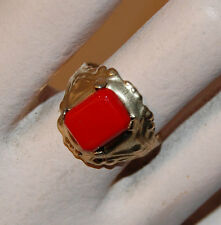 VINTAGE ANTIQUE JEWELRY GIRLS TOY RING CHERRY RED GLASS • kids toy ring