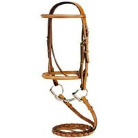 English Saddle Pony Size Horse Chestnut Raised Leather Bridle w/ Laced Reins