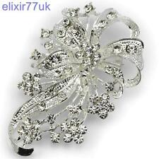 "LARGE 2.7"" SILVER FLOWER BOUQUET BROOCH DIAMANTE CRYSTAL BROACH WEDDING GIFT UK"