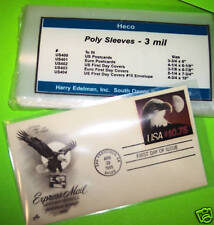 FIRST DAY COVER POLY SLEEVES FOR #6 3/4 COVERS, HECO SAFE-T #US402, PKG 100