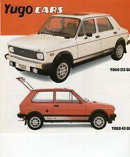 "COLLECTIBLE (198X) BROCHURE YUGO/ Zastava UK Brochure  ""Yugo Cars 513GL 45GL""Q"