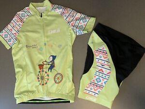 CHEJI Girls XL ~12/14 Cycling Jersey Padded Shorts Set Kit Youth Beautiful World