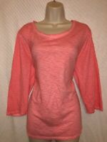 CHICO'S ORANGE COTTON BLEND LONG SLEEVE KNIT TOP/TEE - CHICO'S SIZE 3