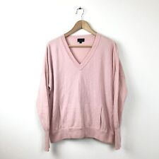 J. Crew Collection Sweater XL Pink B1640 100% Cashmere V Neck Pocket Pullover