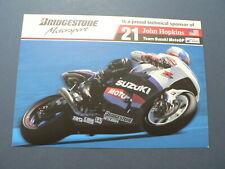 INFO FAN CARD JOHN HOPKINS WEGRACE ROADRACE TEAM SUZUKI MOTO GP 21 BRIDGESTONE