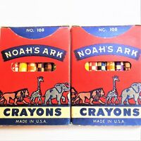 Vintage Two Noah's Ark Crayons No.108 Colorful Graphics Complete Lot Set 2 U.S.A