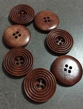 10 X 25mm Dark Coffee Brown Wooden Buttons - Australian Supplier