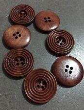 10 X 25mm Dark Coffee Brown Wooden Buttons - Australian Supplier