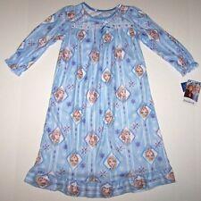 Nwt New Disney Frozen 2 Princess Elsa Flannel Granny Nightgown Pajamas Blue Girl